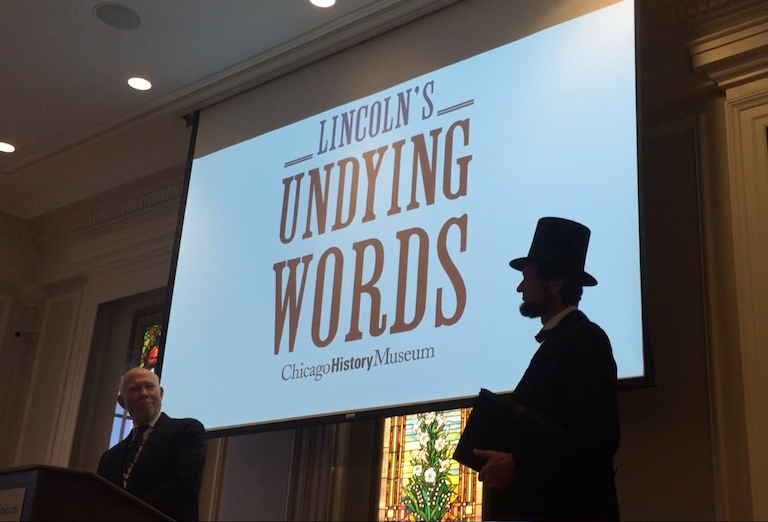 Michael Krebs at opening                                   Lincoln's Undying Words at Chicago                                   History Museum