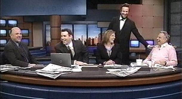 Actor Michael Krebs presents                   Abraham Lincoln with Mort Sahl on WGN Morning News