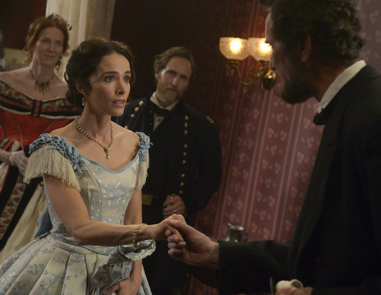 "Abigail Spencer and Michael Krebs as                           Abraham Lincoln in the NBC program Timeless                           ""The Assassination of Abraham Lincoln"" (Photo                           by: Sergei Bachlakov/NBC)"